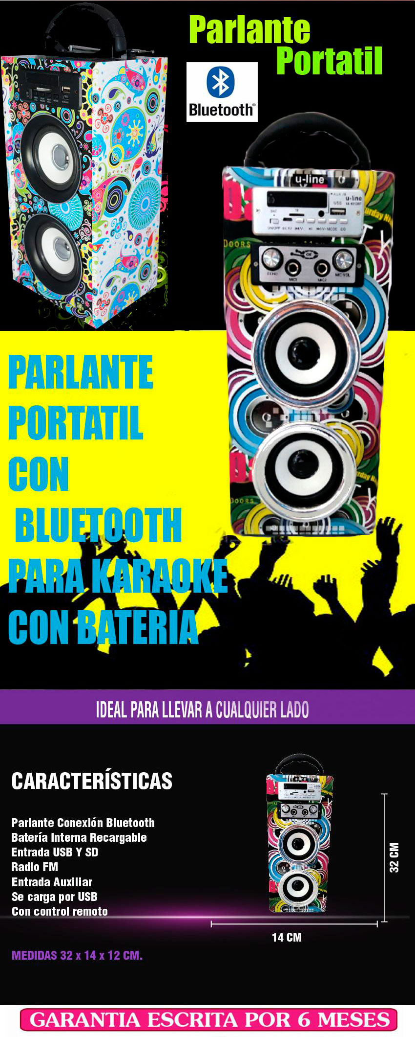 parlante bluetooth usb sd